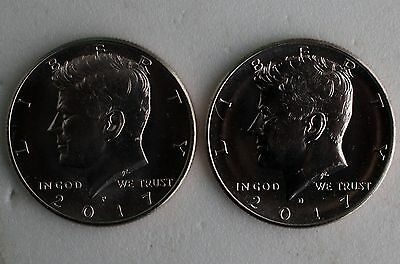 2017 P and D UNCIRCULATED Kennedy 2 Half Dollar Coin 50 Cents JFK Phili + Denver