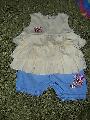 Disney at George  2Tlg Set: Denim Shorts + Tunika T-Shirt Gr 68 3-6M England