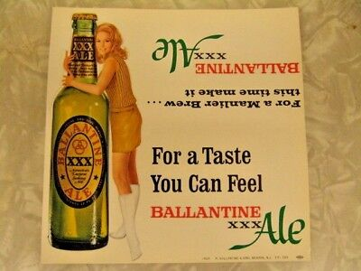 (3) VINTAGE NOS 1960s PIN-UP GO-GO GIRL DIE-CUT BALLANTINE BEER TABLE TOP SIGNS