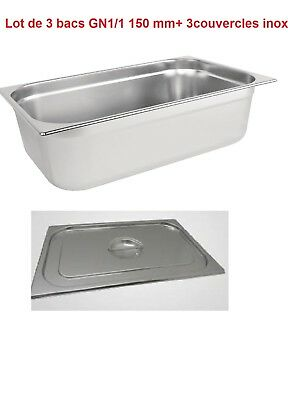 Bac Gastro  inox GN 1/1+ couvercles inox  ( 325 x 530 x 150  mm)  ( Lot de 3).