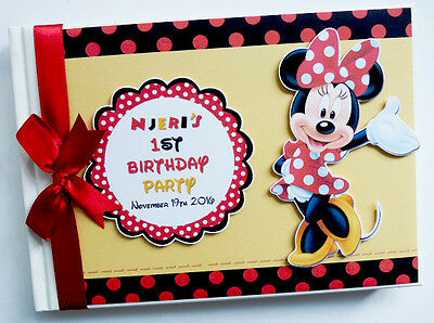 Personalised Disney Minnie Mouse  First/1St Birthday Guest Book - Any Design