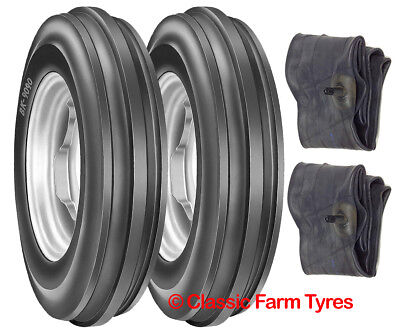 Pair 6.00-16 / 600-16 / 600x16 3 rib tyres/tubes for classic/modern 2WD tractors