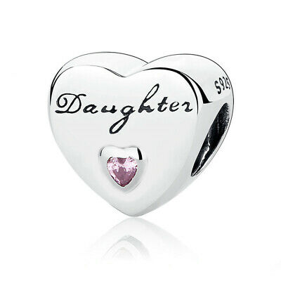 Daughter Charm Love Heart Bead Genuine Sterling Silver 925 Family 791726PCZ NEW