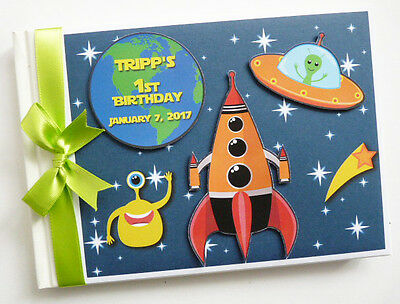 Personalised Outer Space /first/1St Birthday Guest Book Any Design