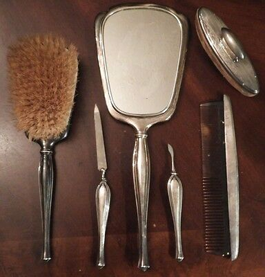 """BIRKS"" (~580 grams) Rogen Bros 6pc Sterling Silver Ladies Vanity Dressing Set"