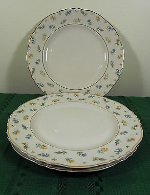3 Syracuse China Suzanne Dinner Plates (9 Avail) Federal Shape Floral Gold Rim