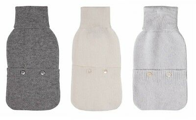 Laycuna London Luxury 100% Cashmere Hot Water Bottle Cover White Grey NWT RRP£85