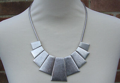 Silver Tone Cleopatra Necklace Chain Bib Modernist Collar Beads Jewellery Large