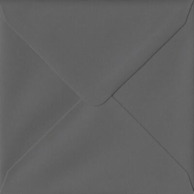 Dark Grey 155mm x 155mm Gummed 135gsm Luxury Square Coloured Grey Envelopes