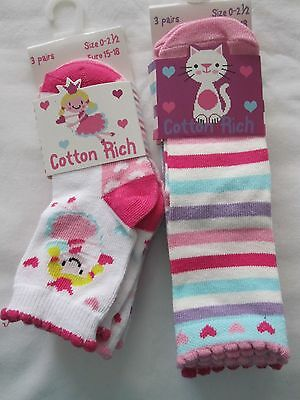 Bnwt - 6 Pairs Cotton Rich Fairy, Hearts, Cat And Striped Ankle Socks - 0-2.5