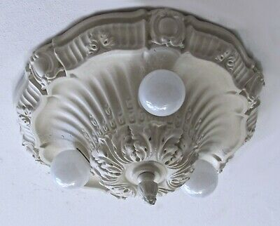 Gorgeous! Antique Shabby Chic Plaster Light Fixture - Restored!
