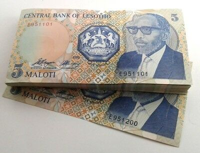 Lesotho 5 Maloti Bundle of 100 Banknotes Consecutive Numbers About Unc  #CIP