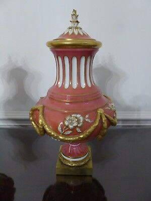 Pair of Antique French Sevres style Porcelain Covered Urns or Vases