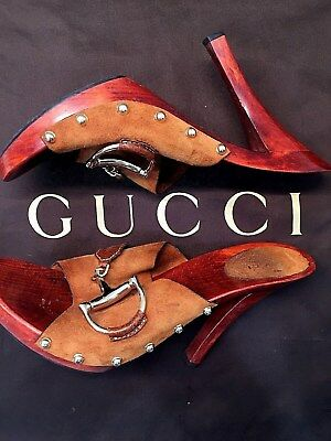 Gucci: Womens Size 11 Shoes Horsebit Red/Tan/ Wood Clogs Mules Open Toe Heels