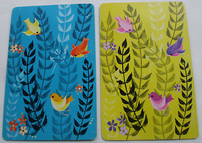 Vintage Swap Playing Trading Cards/blank backs Cute Colorful Birds(2)cards