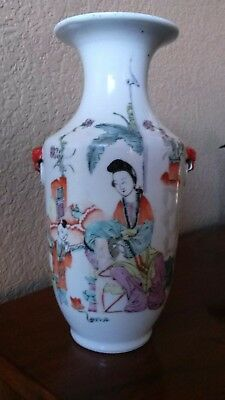 Fine antique Chinese Qianjiang Famille Rose vase calligraphy Qing