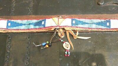 Handcrafted Southwestern American Beaded Leather Tie Belt