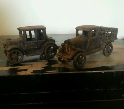 2 Antique Cast Iron Toy car and truck Collection