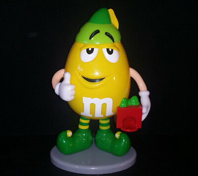 M&M Yellow Santa's Elf Candy Dispenser Holiday Christmas Collectible Limited Ed.