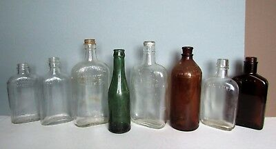 Mixed Lot of 8 Vintage GLASS BOTTLES Empty- Soda, Clorox, Liquor Kinsey, Wathen