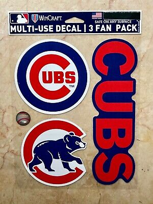 """Very Sharp Mlb Chicago Cubs Badge Car Truck Decal Emblem 4"""" Round Silver"""