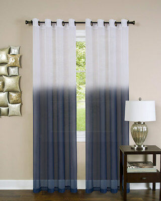 Essence Sheer Ombre Grommet Window Panel, Blue, 52x84 Inches
