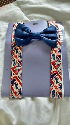 NEW Clair's Suspenders and Bow tie British flag Patten Set