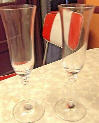2 Wine Champagne Crystal Fluted Glasses Lenox