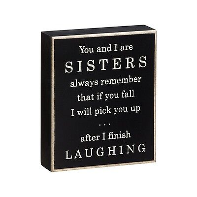 Primitive Wood Sign - Sisters Falling Laughing - Rustic Country Collins