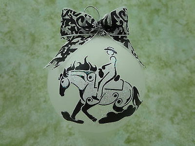 T025 Hand-made Christmas Ornament stylized HORSE tattoo- western reining