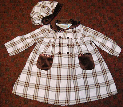 "VINTAGE 2 PC GIRLS OUTFIT ""LITTLE BITTY"" CHECKERED OVERDRESS COAT + HAT free S&H"