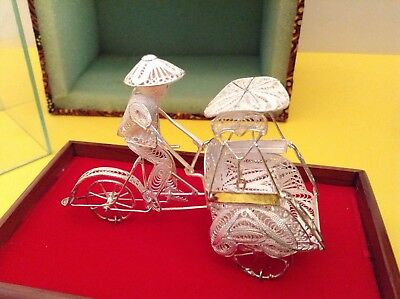 Vintage Chinese Silver Filigree Rickshaw Bicycle Carriage Figurine Sculpture