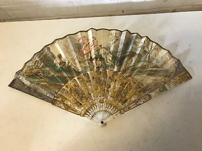 Antique French Painted Fan Religious Scene Gilded & Mother of Pearl Handle w Box