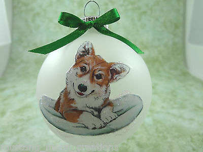D021 Hand-made Christmas Ornament dog - Pembroke Welsh Corgi - red with pillow