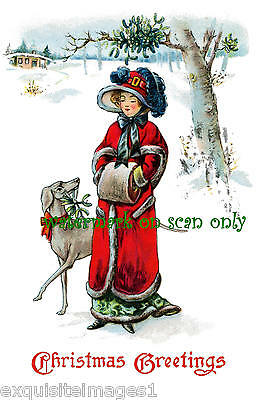 Antique Art~Weimaraner Dog~ Lady in Red Coat~Plume~Muff~NEW Christmas Note Cards