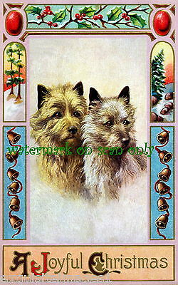 Vintage Art~Cairn Terrier Dogs~Art Nouveau Border~Bells NEW Christmas Note Cards
