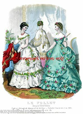1869 Le Follet~Antique Paris Fashion~NEW Lge Note Cards