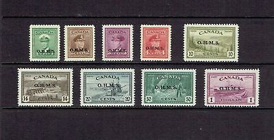 Canada 1949 Peace Issue - 'ohms' Overprints - Scott O1 To O10 - Mlh