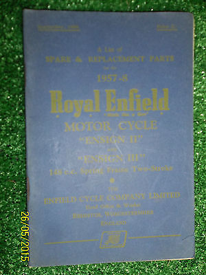 ROYAL ENFIELD 148cc ENSIGN II III ILLUSTRATED SPARE PARTS LIST MANUAL BOOK 57-58