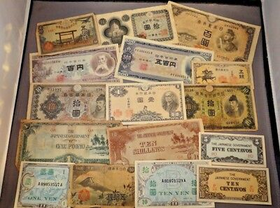 Lot of 16 vintage various currency notes paper money Japan Japanese money