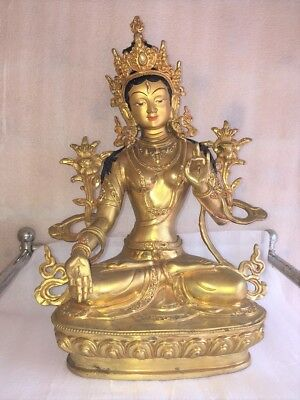 "12"" Green Star (Tara or Mother Earth) Copper Statue in Gold Plated"