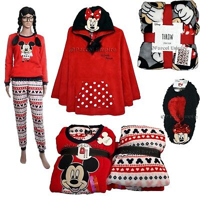 Official Disney MINNIE MOUSE ROBE / FOOTLETS Poncho Mickey HOODIE Slipper Pyjama