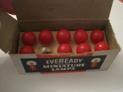 Box of 10 Eveready Miniature Lamps Toy Train Bulbs GE 428  9 Red 1 Clear Tested