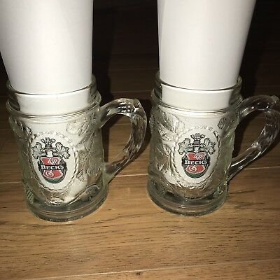 Becks Beer Glass Mugs Lot Of 2