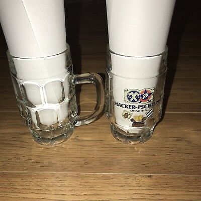 Hacker Pschorr .25L Glass Beer Mugs Lot Of 2