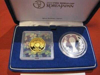 Japan Gold Coin 2002 FIFA World Cup Commemorative ¥10,000 Gold & ¥1,000 Silver