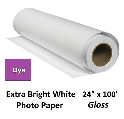 """Extra Gloss Inkjet Photo Paper for Dye-Based Pigment (HP Canon Epson) 24"""" x 100′"""