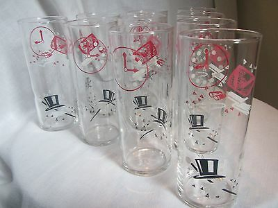 """Vintage 1950's Lot Of 10 """"on The Town"""" 6""""h Pink Black & White Barware Glasses"""