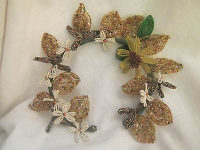 Rare Women's Vintage Accessory Hand Beaded And Wired Floral Headband