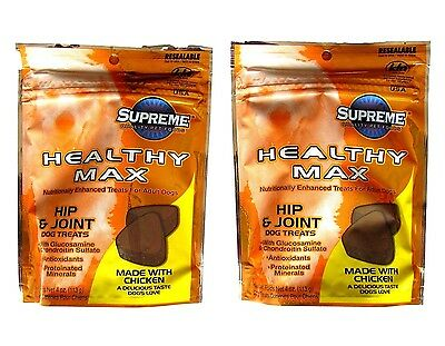 2 Pack Supreme Glucosamine & Chondroitin  Joint Hip Dysplasia Soft Chews 4 Dogs